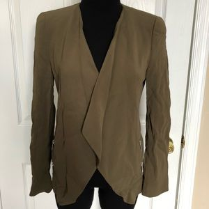 Zara women olive green zipper blazer size small